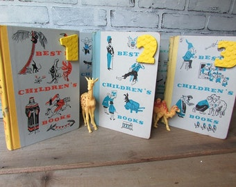 Table Numbers Vintage Children's Books  1 Through 9 Vintage Wedding Vintage Birthday Party
