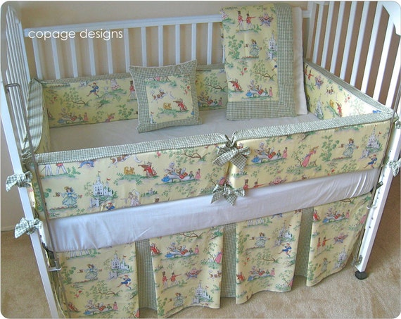Yellow Over The Moon Toile Baby Girl Crib Bedding By