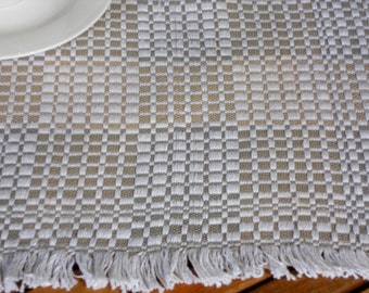 Hand woven placemat checked cotton vintage table topper with fringe