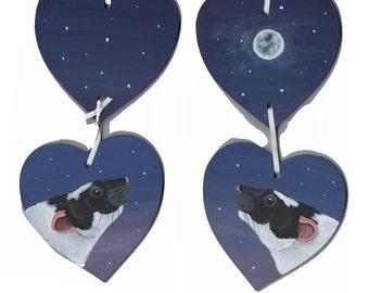 Moonlight Themed Black Capped Rat Hanging Garland Hearts
