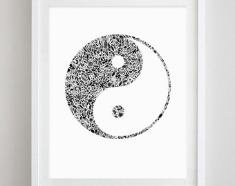 Yin Yang Floral Watercolor Art Print