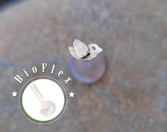 TRAGUS French BIRD 16 gauge / Bioflex/ Sterling silver/ tragus earring/ heart tragus/ cartilage earring/ helix