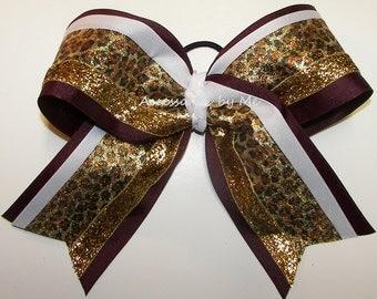 Maroon Gold Cheer Bow, Cheetah Big Bow, Maroon Gold Sparkly Cheer Bows, Football Cheerleader Ponytail Bow, FSU Florida State Spirit Cheerbow
