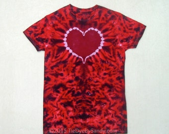 Small Red and Maroon Heart Tie Dye Shirt