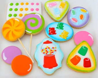 12 Vegan Candy Themed Sugar Cookies