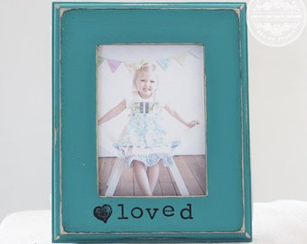Gifts for Mom, Gift for Daughter, Mother Daughter Sisters Gift Personalized Picture Frame 'Loved.'
