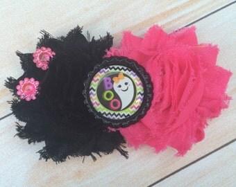 Halloween Bow - Ghost Hair Bow - Halloween Ghost Bow - Pink and Black Shabby Flower Clip - Baby Headband - Newborn Headband - Cute Bows