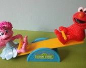 Abby Cadabby and Elmo See Saw Cake Topper Sesame Street cupcake rings picks perfect birthday party treat bag favors Cookie Monster Big Bird