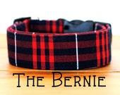"Red & Navy Lumberjack Plaid Dog Collar ""The Bernie"""