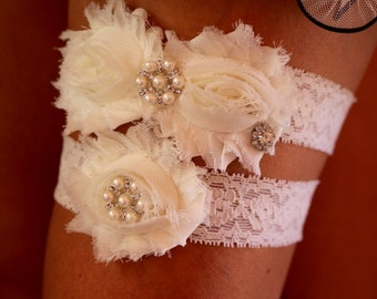 Rustic Garter Set , Ivory Garter , Bridal Garter , Wedding Garter , Vintage Inspired Garter ,Toss garter , Lace Garter