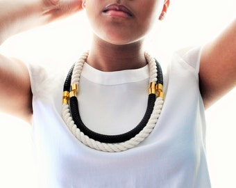 Two Black and White Marine Cord Statement Necklace