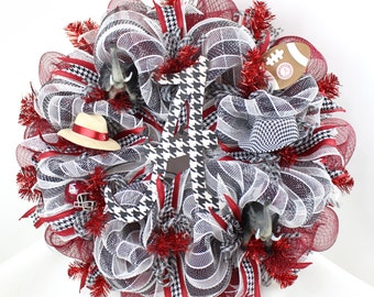 Alabama Crimson Tide Fan Deco Mesh Door Wreath