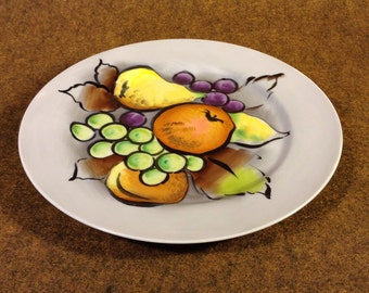 Hand Painted Plate, Collectible Porcelain Plate, Painted Fruit, Signed, Rosetti, Dawn and Dusk, Vintage Decorative Plate, Dish
