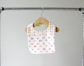 Baby/Toddler Bib, Organic Pink Elephant and Pink XO Flannel Cotton with Organic Bamboo Terry