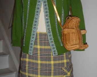 true vintage plaid pencil skirt  yellow  black white with free sweater causeilike them 2gether :) 50s 60s