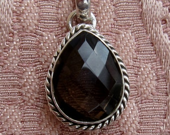 Faceted Smokey Quartz Sterling Silver Pendant