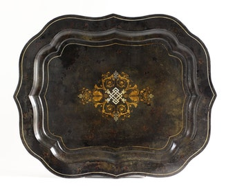 Antique Tole Tray 1800s Ottoman Tray - Vintage Toleware Serving Tray