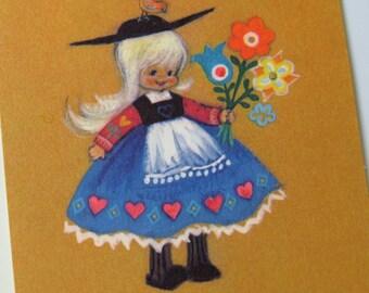 Vintage 70s Hallmark ~ Little Girl w/ Flowers ~ Folk~ To Cheer You ~ Get Well Wish