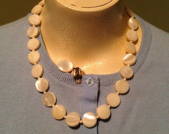 Mother of Pearl Disk Necklace and Earring Set