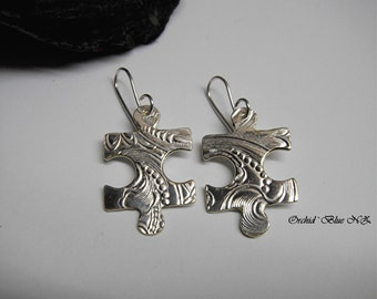 Puzzle Piece Earrings, Puzzle, Silver earrings, statement jewelry, one of a kind, Fashion, Vintage Jewelry, Summer Accessories