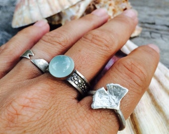 Sterling ginko leaf ring, PMC sterling ring, ginko leaf,