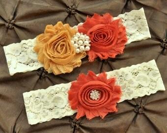 Autumn Wedding Garter, Bridal Garter Set - Ivory Lace Garter, Keepsake Garter, Toss Garter, Fall Garter, Autumn Garter, Pumpkin, Gold