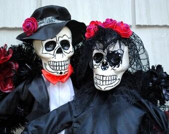 Halloween Wreath Day of the Dead, Dia de los Muertos Wreath Skeleton Bride and Groom, Halloween Bride and Groom