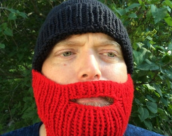 Knit Beard Hat, Black with Red Beard