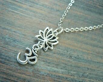 lotus necklace spiritual necklace lotus  om  minamalist necklace in yoga new age meditation zen hipster boho gypsy hippie style