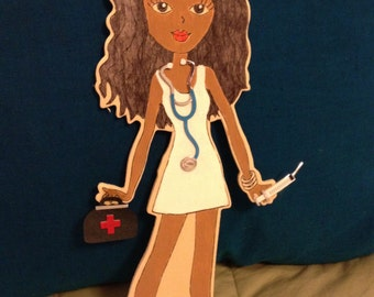 Nurse wooden stand up doll decor