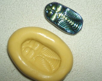 Flexible Mold EGYPTIAN REVIVAL SCARAB Beetle Cabochon Silicone Push Mold Safe for Crafts Food Clay Soap Resin
