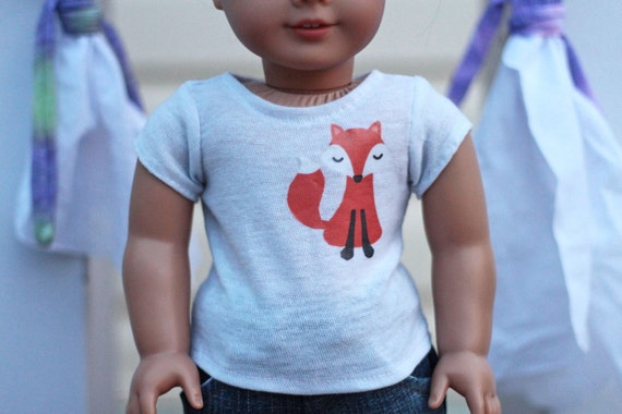 White T-Shirt With Fox Decal for American Girl Dolls