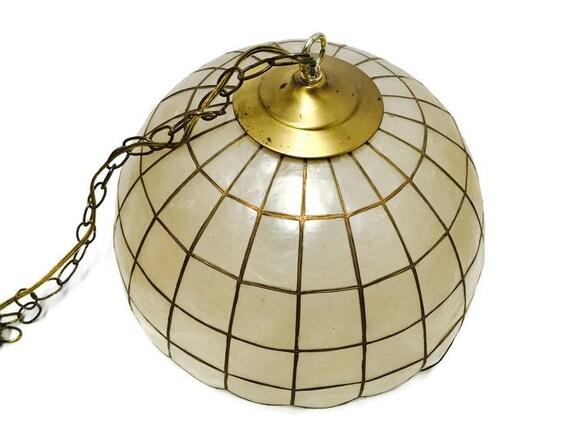 sale vintage capiz shell swag light bohemian pendant hanging lamp mid. Black Bedroom Furniture Sets. Home Design Ideas