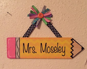 Pencil Teacher Name Sign