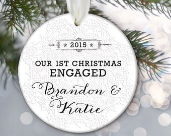 Our First Christmas ENGAGED Ornament Engagement Gift Personalized Christmas Ornament Bridal Shower Gift Custom Ornament Lace OR350