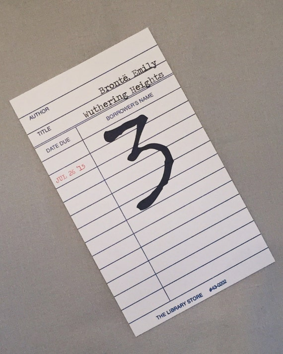 Library Wedding Borrower's Card Table Number Cards for Literary Wedding (set of 12) / Bookish Wedding Table Decor / Bar/Bat Mitzvah