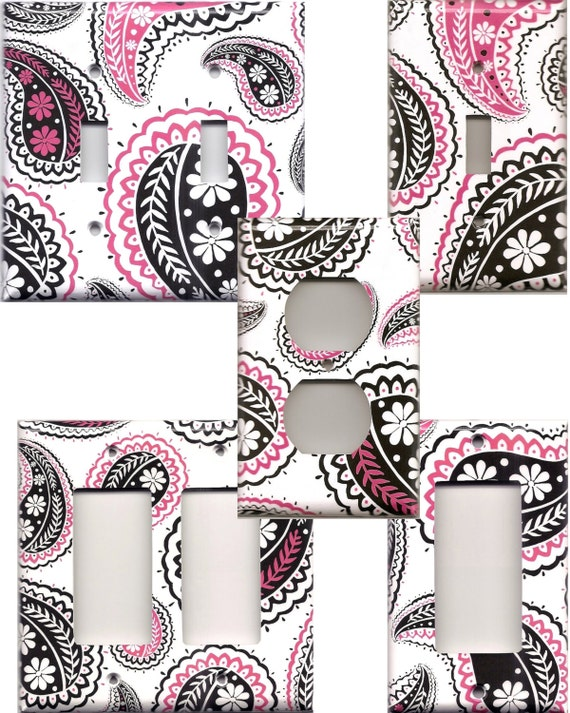 black white and hot pink paisley light switch plates and wall