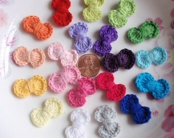 20 Mini Crochet  Bows Crochet Flowers In Multicolor YH - 206