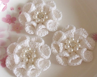 3 Crochet  Flowers With Pearl And Rhinestone In 2 inches YH -312-02