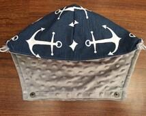 Tula Hoodie Hood in Navy blue anchors (Skipper) & Grey Minky