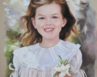Pastel portrait with flower,