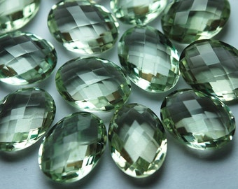 2 Match Pair,( Undrilled )Super Rare AAA Green Amethyst Faceted Oval Shape Calibrated Size 10x14mm