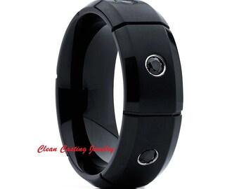 Black Diamond Titanium Ring,Black Diamond Titanium Band,Brushed Titanium Ring,Anniversary Band,Engagement Band,Comfort Fit,Grooved Titanium