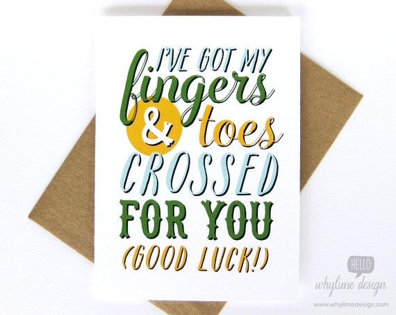 Fingers and Toes Crossed Good Luck Card