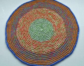 Round Blue, Green, Orange, Wool Area Rug - Handmade