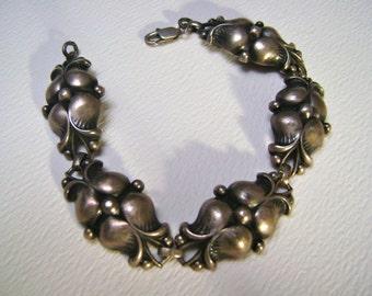 vintage sterling floral panel bracelet