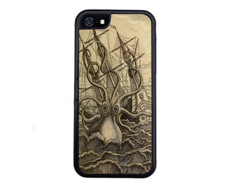 Vintage Nautical Release The Kraken! Case For iPhone 4 / 4s, 5 / 5s, 5c, 6 / 6s or 6 Plus / 6s Plus.