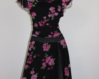 Vintage Speechless Floral Flutter Sleeve Party Dress Girls Size 16
