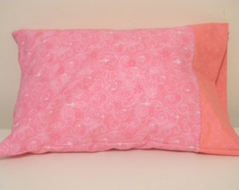 Travel Pillow Case Pink stars and swirls
