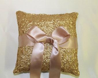 """Ring Bearer Pillow. Gold & Blush Pink Sequin Wedding Ring Pillow. 5""""x5"""" Blush Pink Wedding Decor. Gold Sequin Ring Pillow. Gold Ring Pillow."""